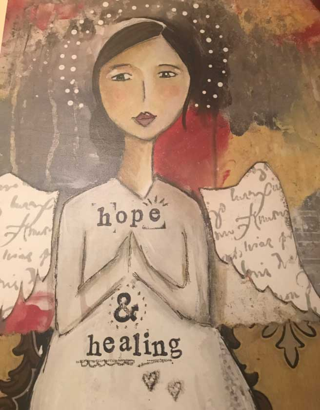 Hope and healing drawing of an angel meditating