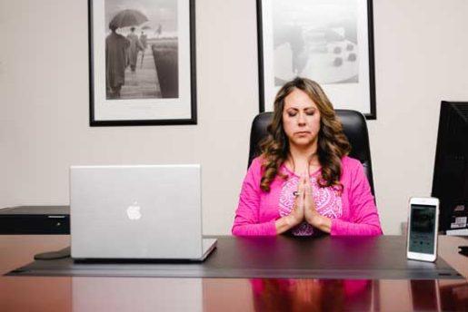 Mindful meditation at desk
